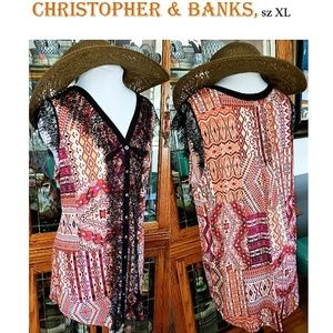 NWT Christopher & Banks multimedia button tank, XL